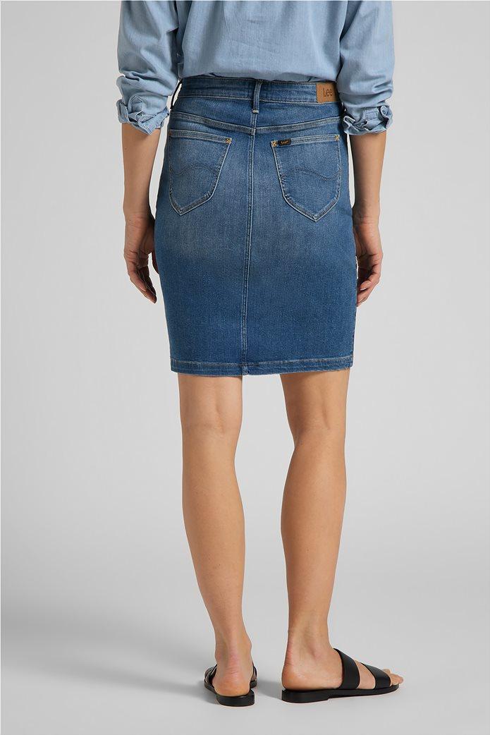 Lee γυναικεία mini φούστα denim με σκίσιμο στο τελείωμα 1