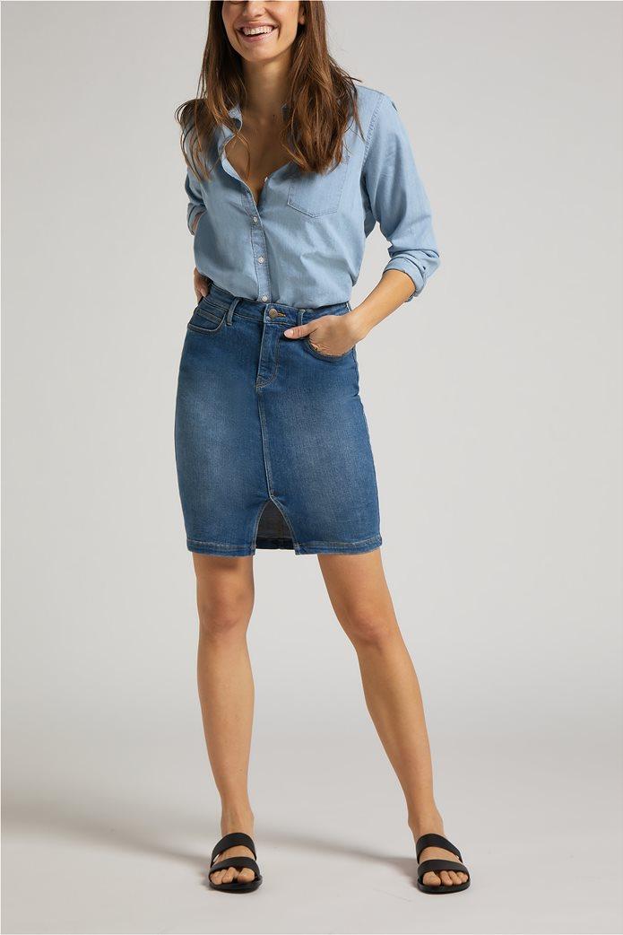 Lee γυναικεία mini φούστα denim με σκίσιμο στο τελείωμα 2