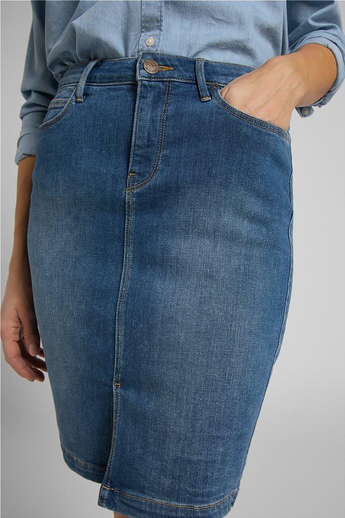 Lee γυναικεία mini φούστα denim με σκίσιμο στο τελείωμα 5
