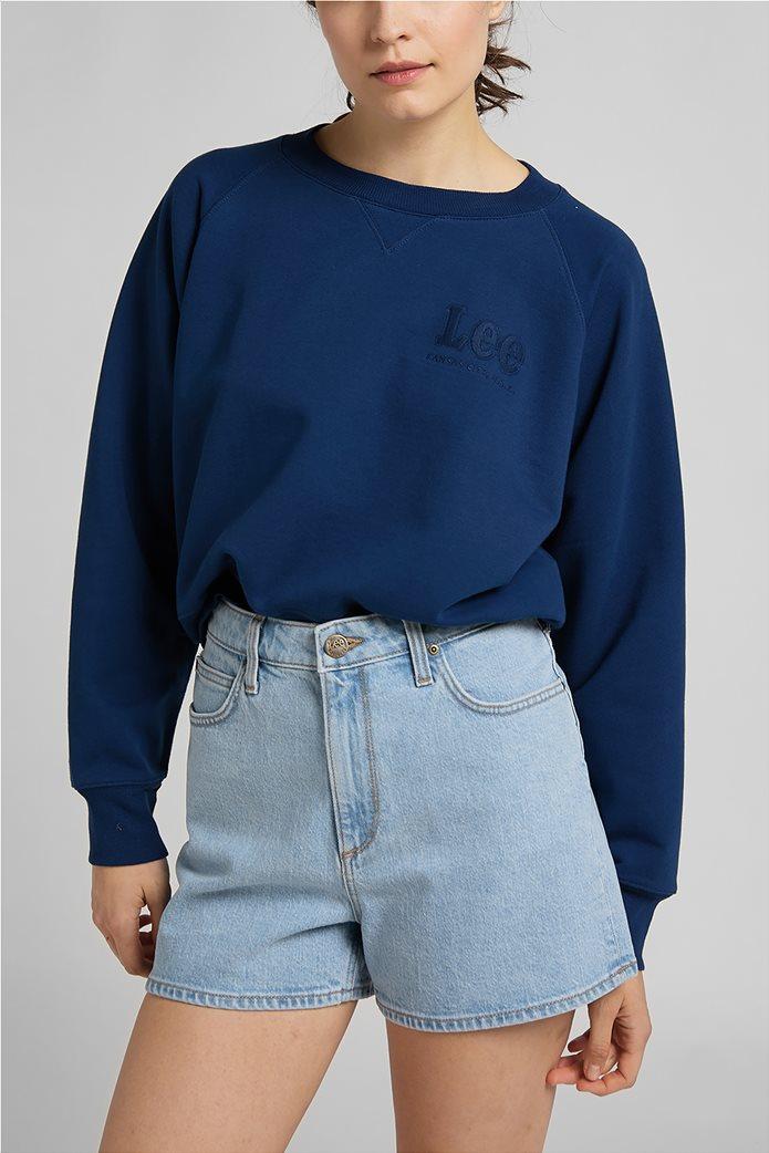 Lee γυναικεία φούτερ μπλούζα cropped με κεντημένο λογότυπο 0