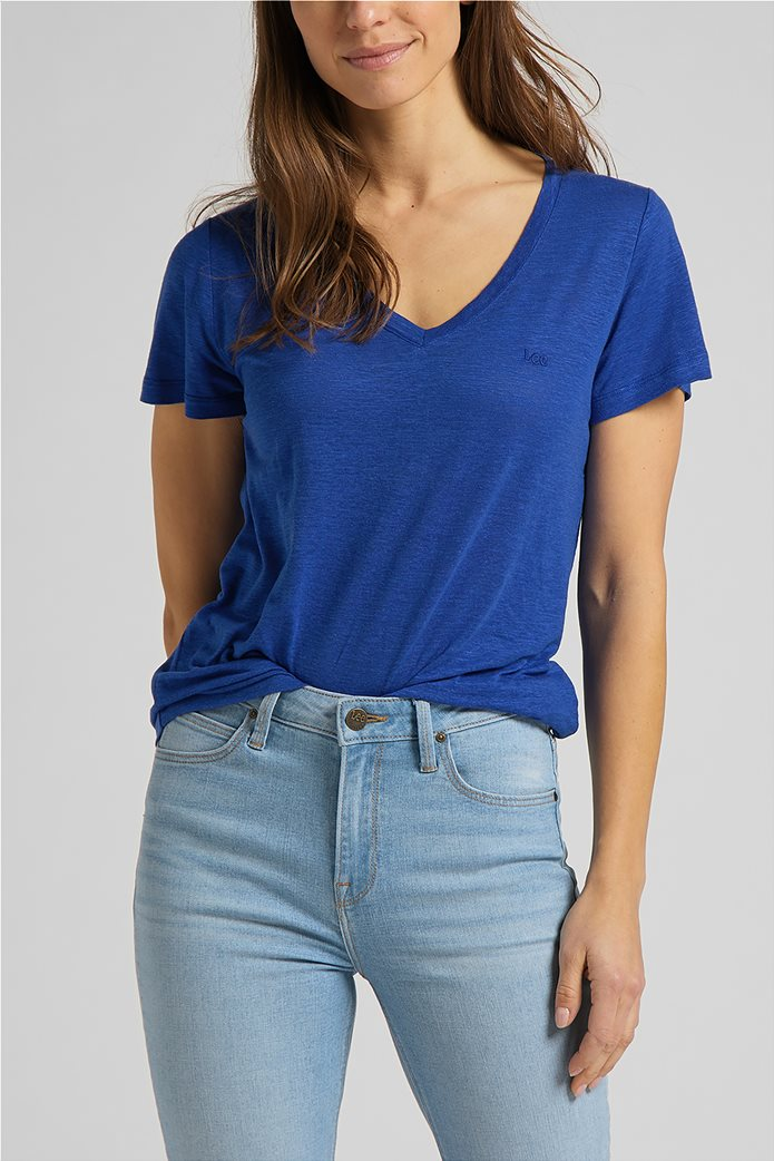 Lee γυναικεία μπλούζα μονόχρωμη με V λαιμόκοψη 0