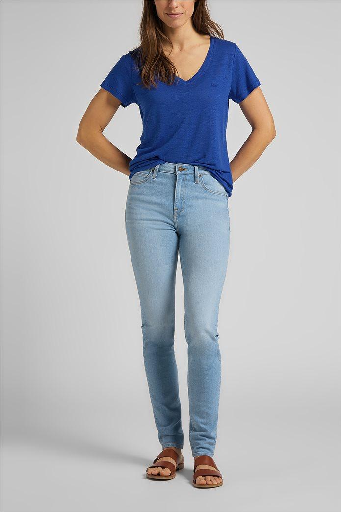Lee γυναικεία μπλούζα μονόχρωμη με V λαιμόκοψη 2