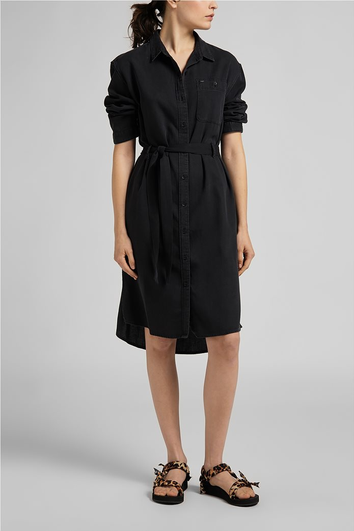 Lee γυναικείο denim φόρεμα ασύμμετρο με ζώνη στη μέση 0
