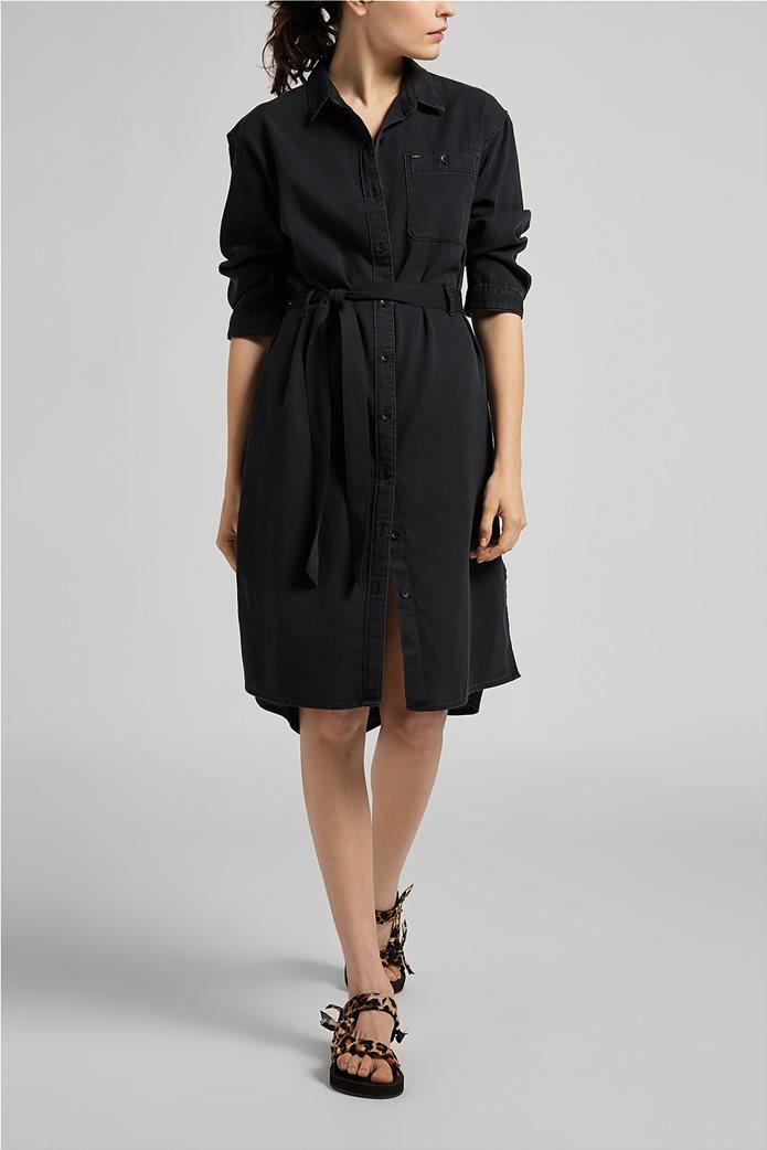 Lee γυναικείο denim φόρεμα ασύμμετρο με ζώνη στη μέση 2