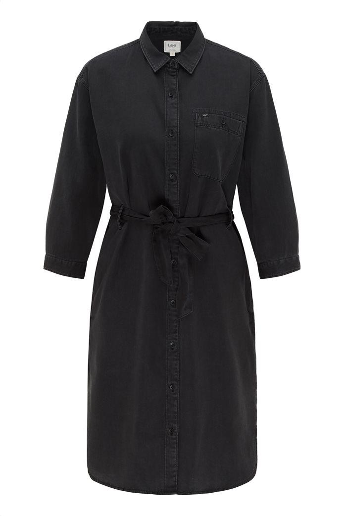 Lee γυναικείο denim φόρεμα ασύμμετρο με ζώνη στη μέση 6