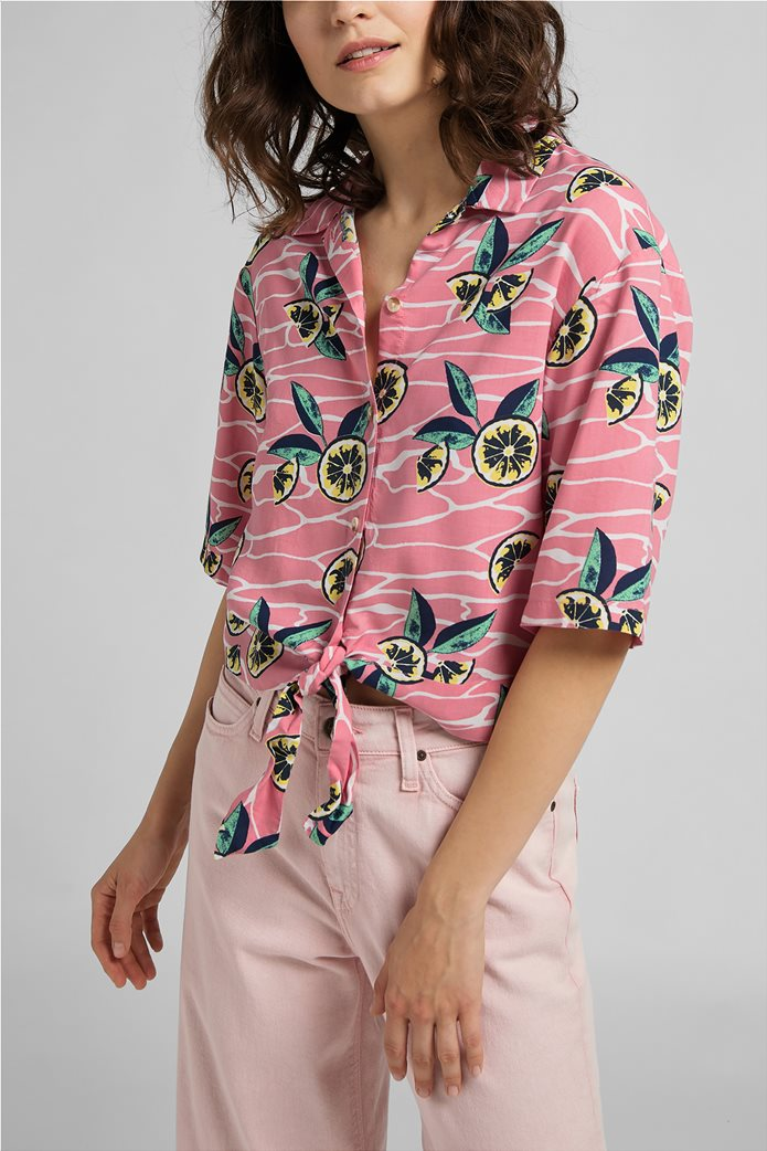 Lee γυναικείο πουκάμισο με lemon print Ροζ 0