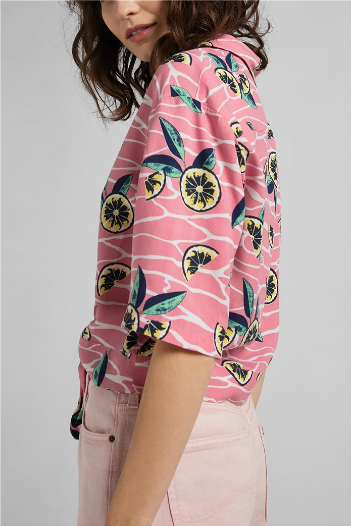 Lee γυναικείο πουκάμισο με lemon print Ροζ 3