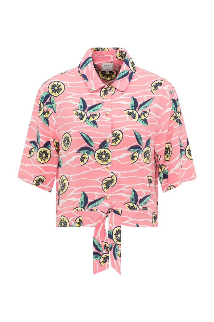 Lee γυναικείο πουκάμισο με lemon print Ροζ 6
