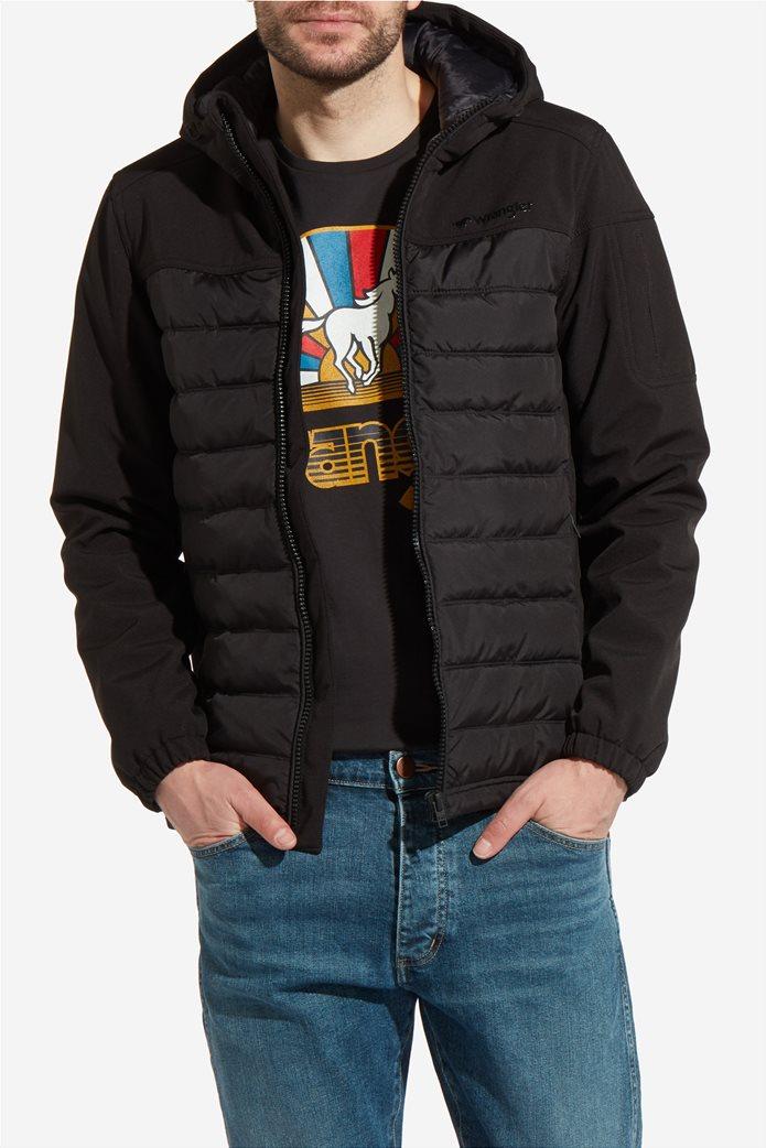 Wrangler ανδρικό μπουφάν καπιτονέ Tech Hoodie Black 0