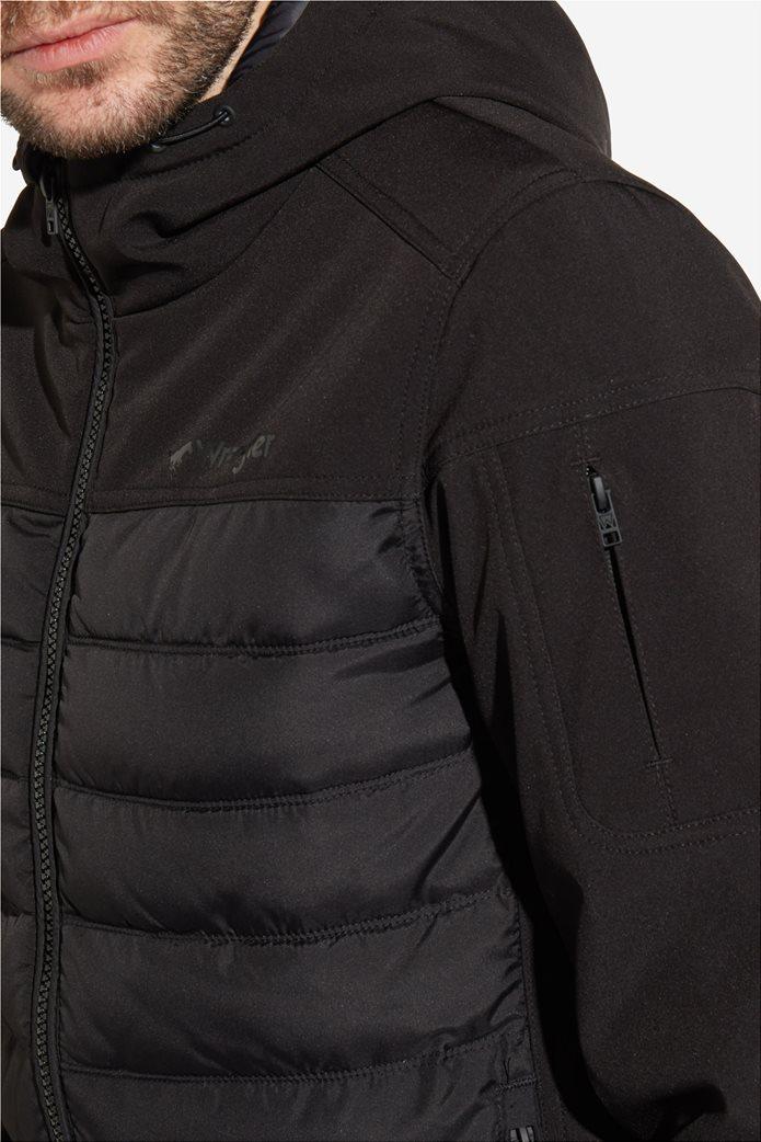 Wrangler ανδρικό μπουφάν καπιτονέ Tech Hoodie Black 3