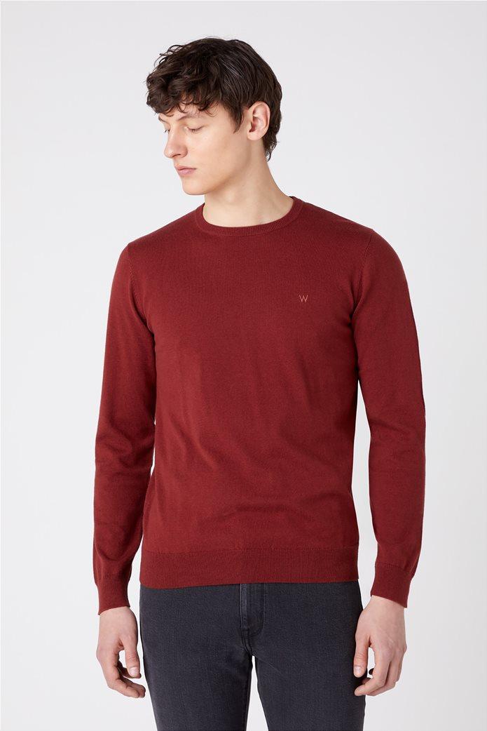 """Wrangler ανδρική πλεκτή μπλούζα μονόχρωμη """"Crew Knit"""" 0"""