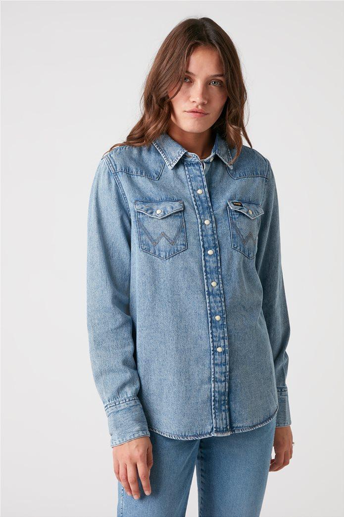 "Wrangler γυναικείο πουκάμισο denim με flap τσέπες ""Indigood Icons 27WW"" 0"