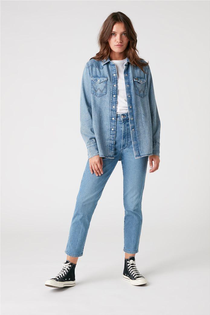 "Wrangler γυναικείο πουκάμισο denim με flap τσέπες ""Indigood Icons 27WW"" 1"
