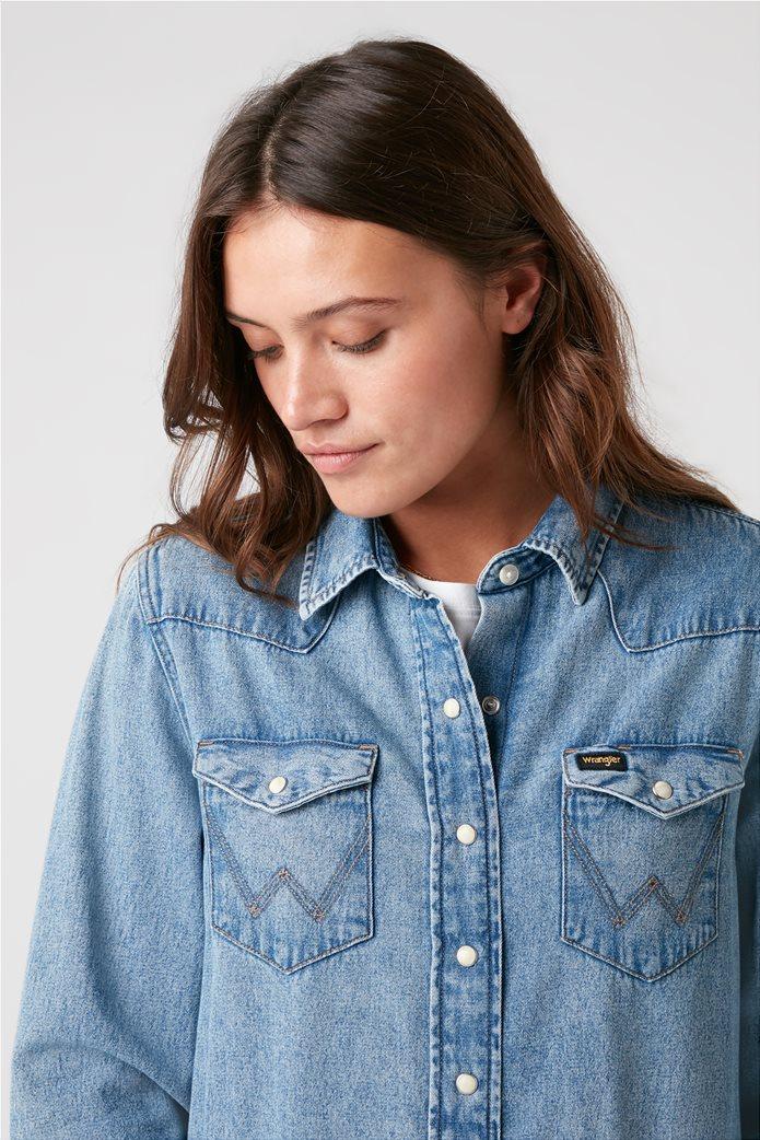 "Wrangler γυναικείο πουκάμισο denim με flap τσέπες ""Indigood Icons 27WW"" 2"