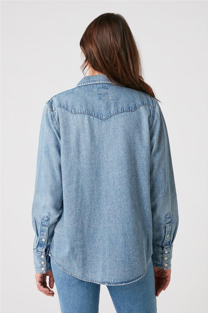 "Wrangler γυναικείο πουκάμισο denim με flap τσέπες ""Indigood Icons 27WW"" 3"