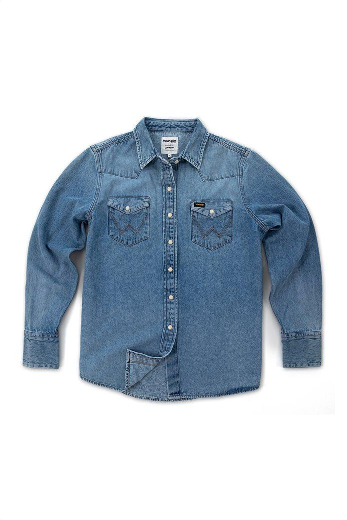 "Wrangler γυναικείο πουκάμισο denim με flap τσέπες ""Indigood Icons 27WW"" 4"