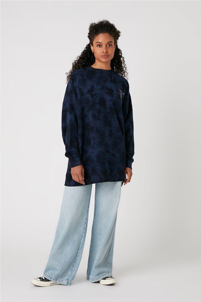 Wrangler γυναικεία μπλούζα φούτερ oversized με logo stamp και dye print 1