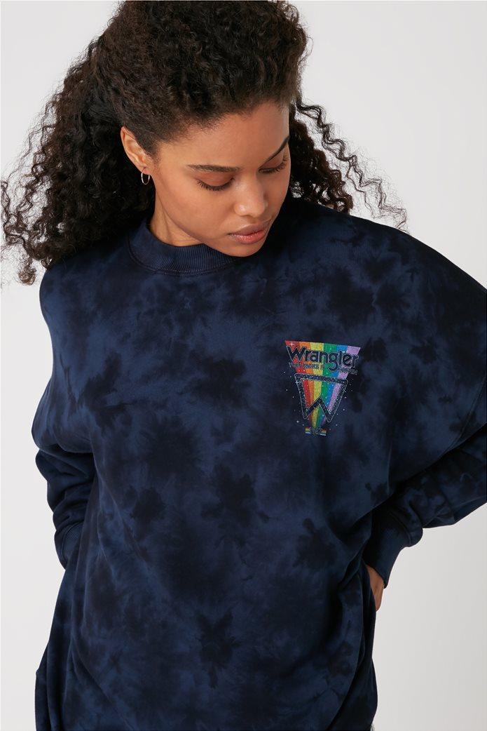 Wrangler γυναικεία μπλούζα φούτερ oversized με logo stamp και dye print 2