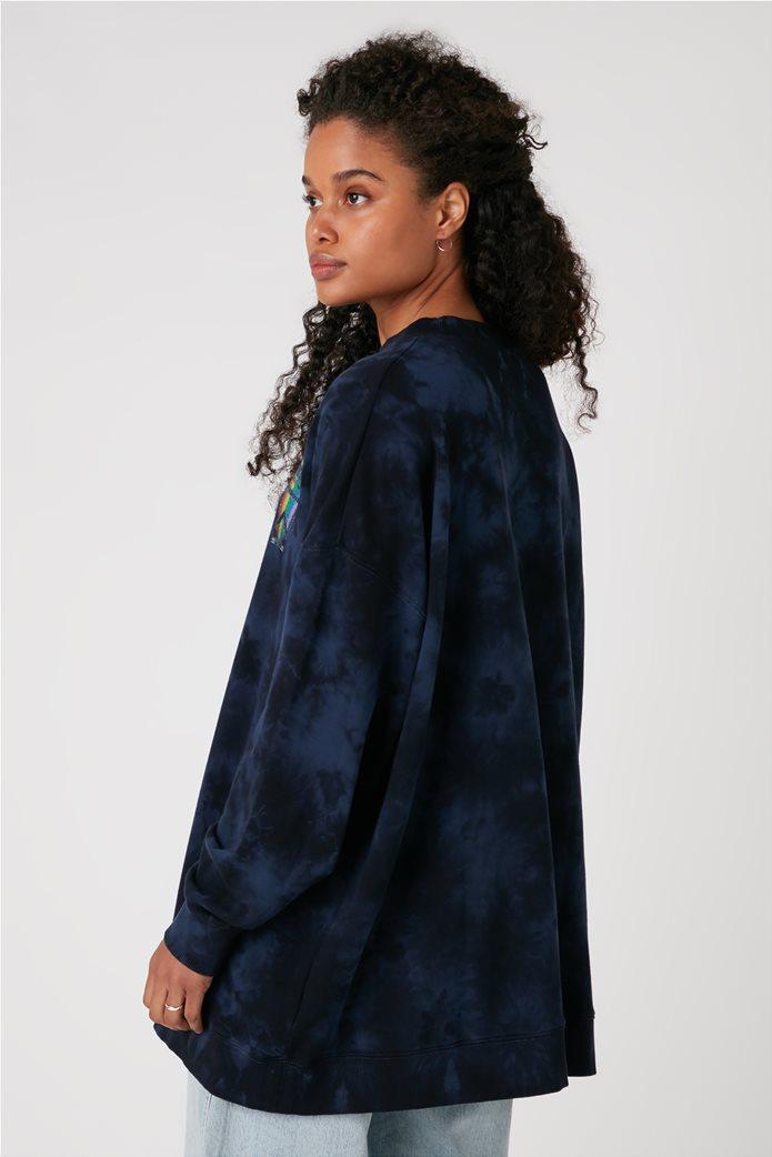 Wrangler γυναικεία μπλούζα φούτερ oversized με logo stamp και dye print 3