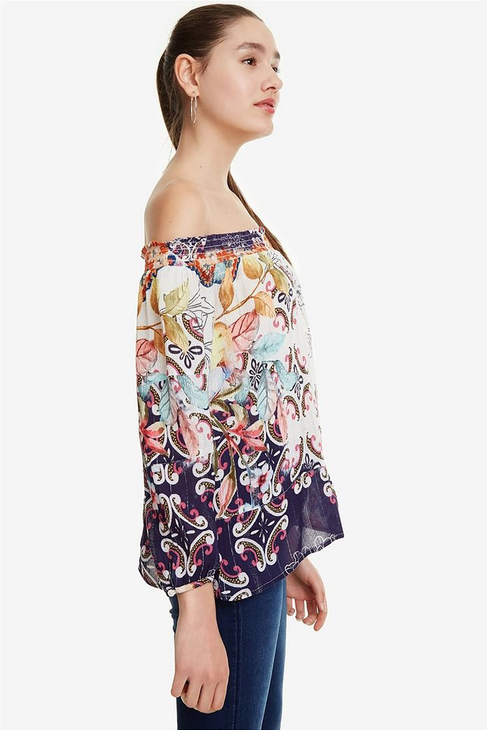83fdfe351386 Desigual γυναικεία μπλούζα με carmen λαιμόκοψη Ηydra 2