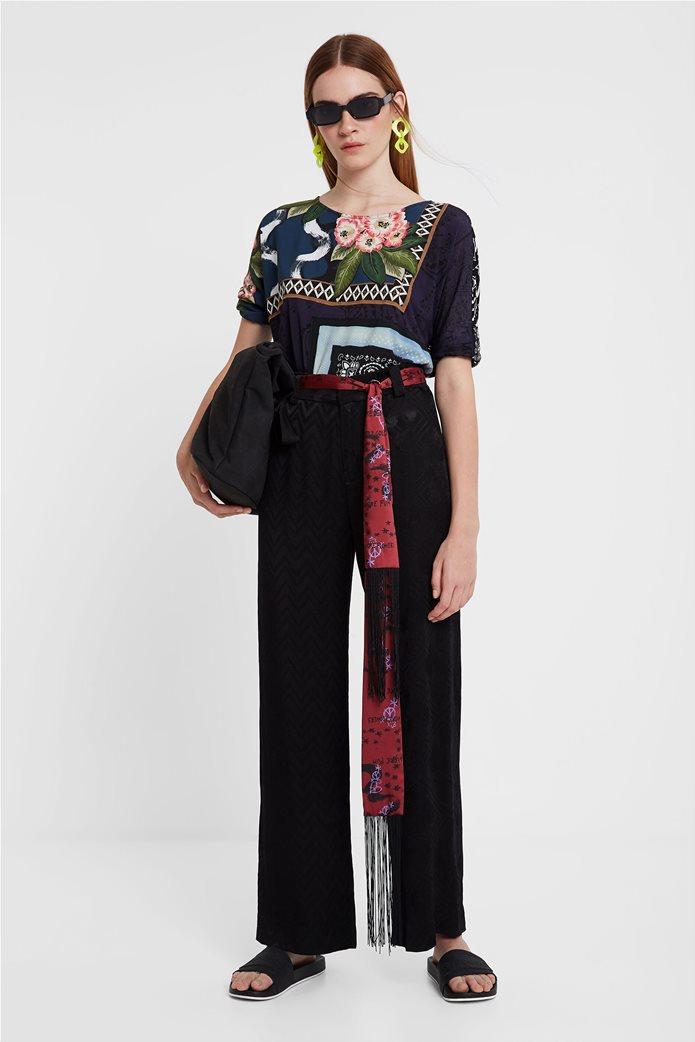 "Desigual γυναικεία παντελόνα με γεωμετρικό σχέδιο και ζώνη φουλάρι ""Terry"" 0"
