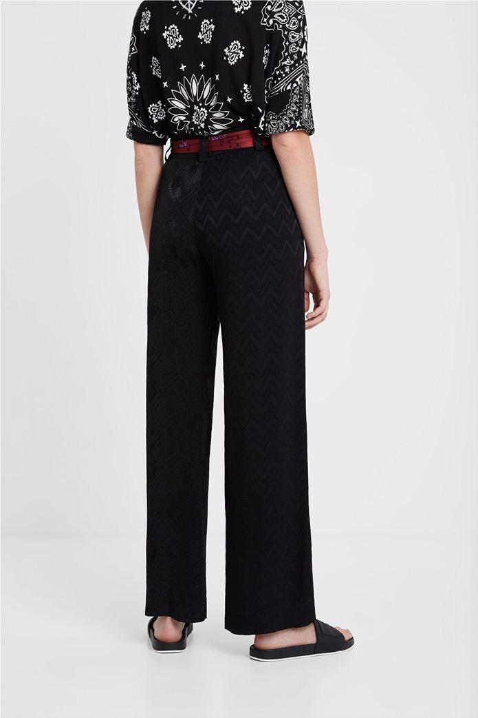 "Desigual γυναικεία παντελόνα με γεωμετρικό σχέδιο και ζώνη φουλάρι ""Terry"" 1"