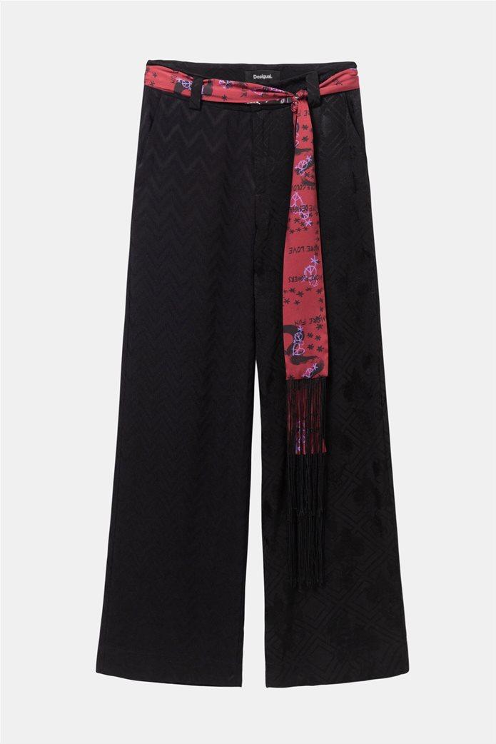 "Desigual γυναικεία παντελόνα με γεωμετρικό σχέδιο και ζώνη φουλάρι ""Terry"" 3"