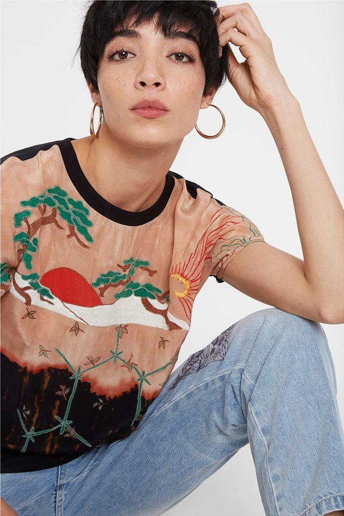 "Desigual γυναικεία μπλούζα με κέντημα ""Αrgos"" 0"