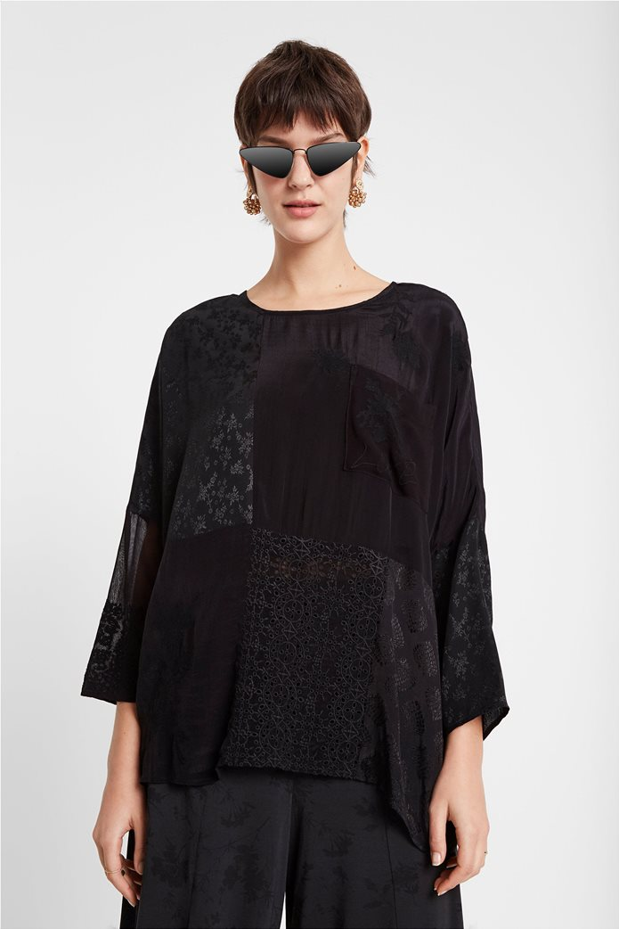 "Desigual γυναικεία μπλούζα με διαφορετικά υφάσματα ""Bari"" 0"