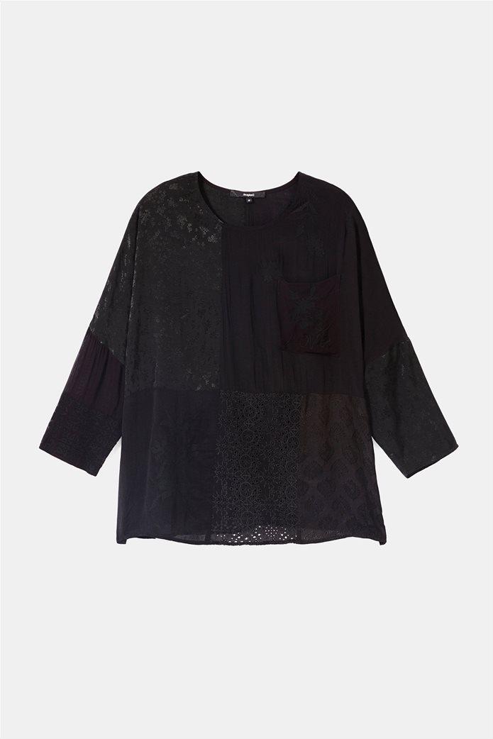 "Desigual γυναικεία μπλούζα με διαφορετικά υφάσματα ""Bari"" 5"
