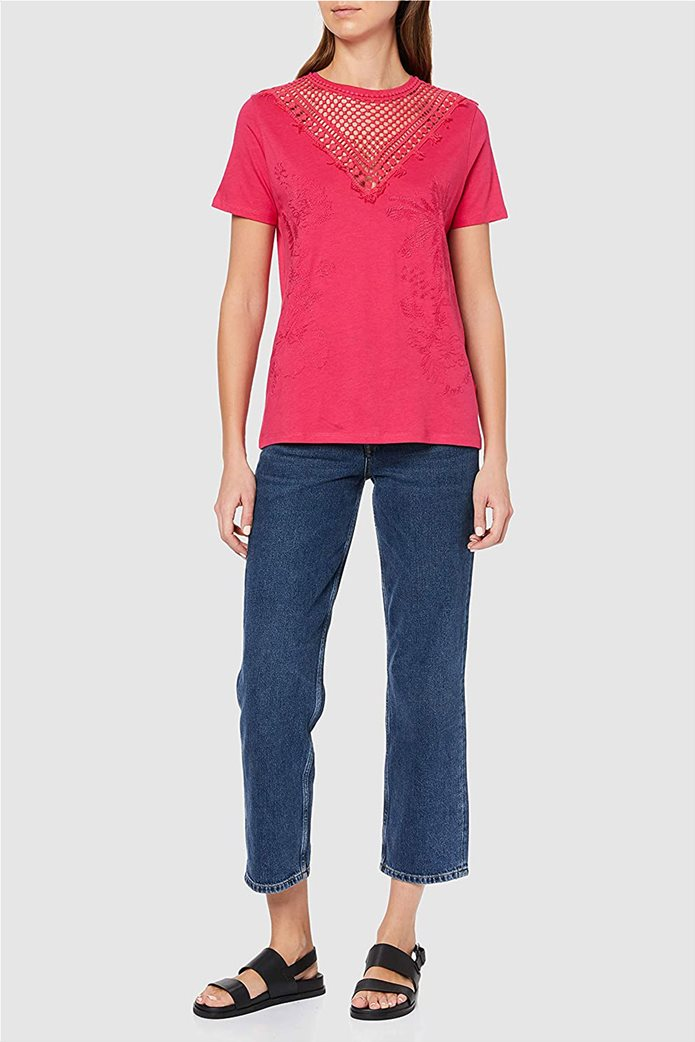 "Desigual γυναικεία μπλούζα με κέντημα ""Tropic Thoughts"" Φούξια 0"