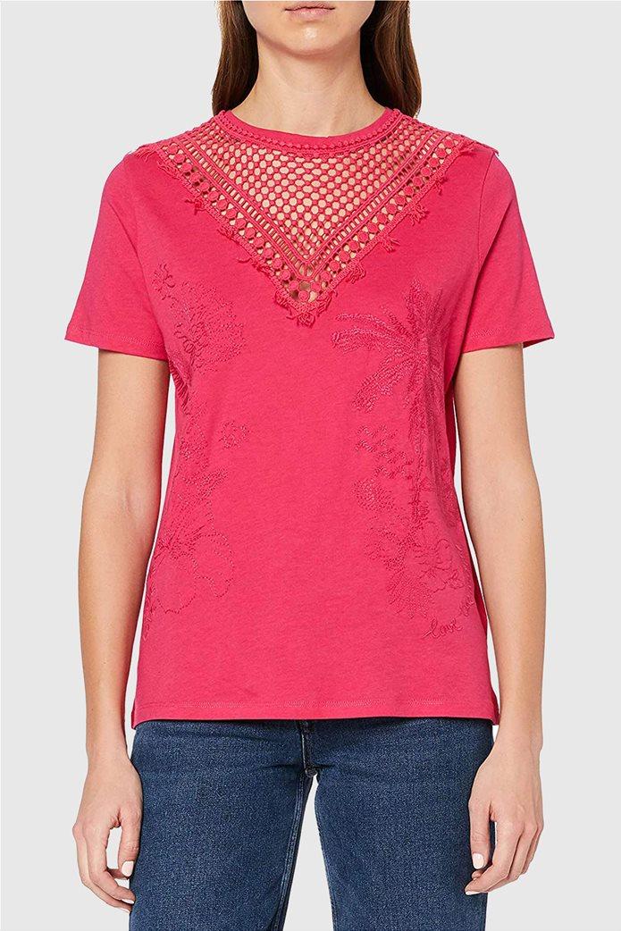 "Desigual γυναικεία μπλούζα με κέντημα ""Tropic Thoughts"" Φούξια 1"