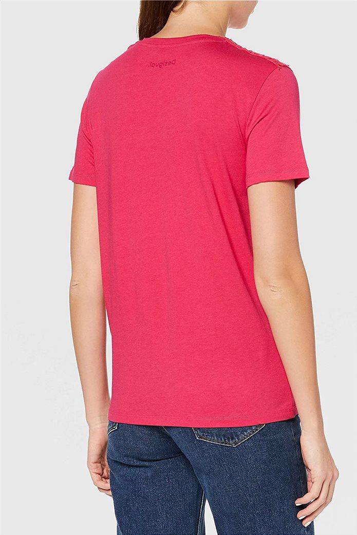 "Desigual γυναικεία μπλούζα με κέντημα ""Tropic Thoughts"" Φούξια 3"