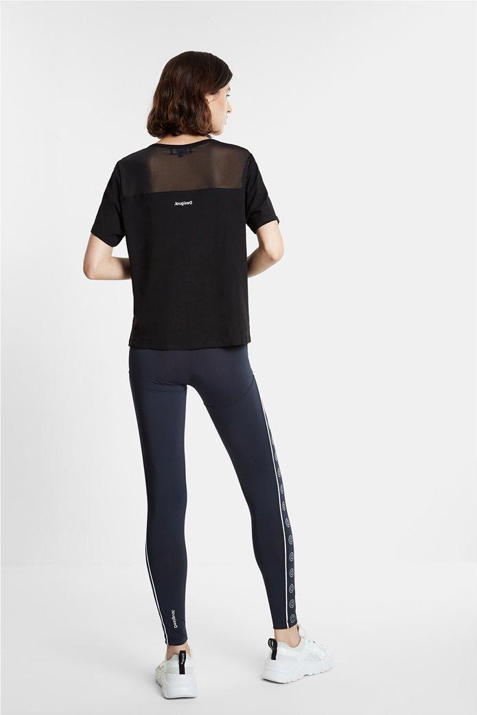 "Desigual γυναικείο T-shirt με letter patch ""Mesh Love"" 3"