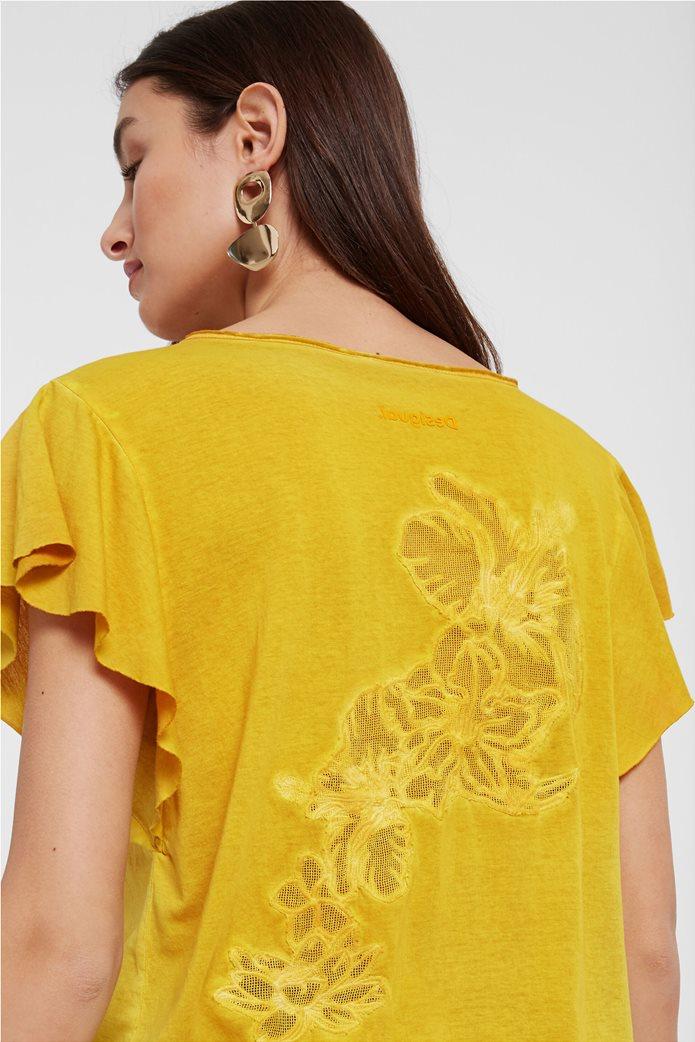 "Desigual γυναικεία μπλούζα με κεντημένο λουλούδι στην πλάτη ""Madrid"" 1"