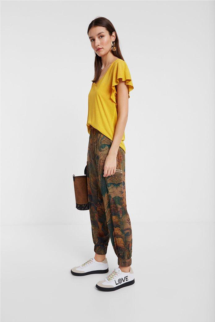 "Desigual γυναικεία μπλούζα με κεντημένο λουλούδι στην πλάτη ""Madrid"" 2"