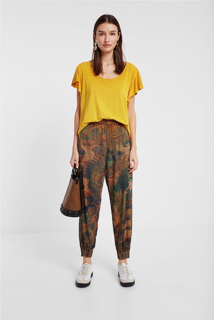 "Desigual γυναικεία μπλούζα με κεντημένο λουλούδι στην πλάτη ""Madrid"" 3"