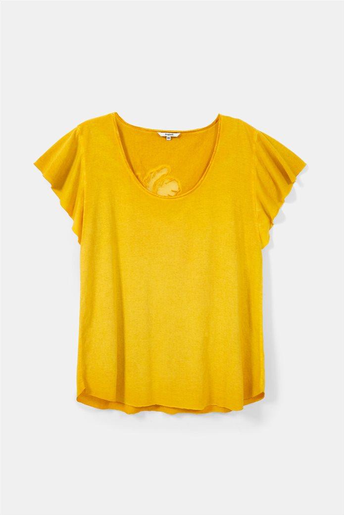 "Desigual γυναικεία μπλούζα με κεντημένο λουλούδι στην πλάτη ""Madrid"" 4"