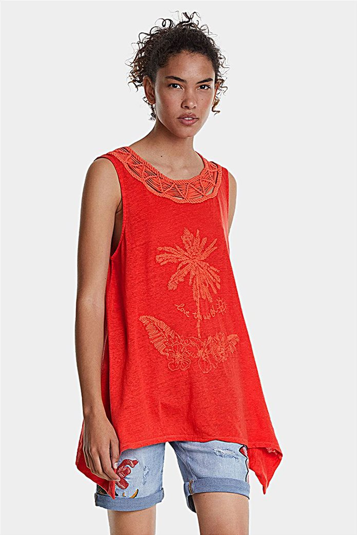 "Desigual γυναικεία αμάνικη μπλούζα με floral print ""Phil"" 0"