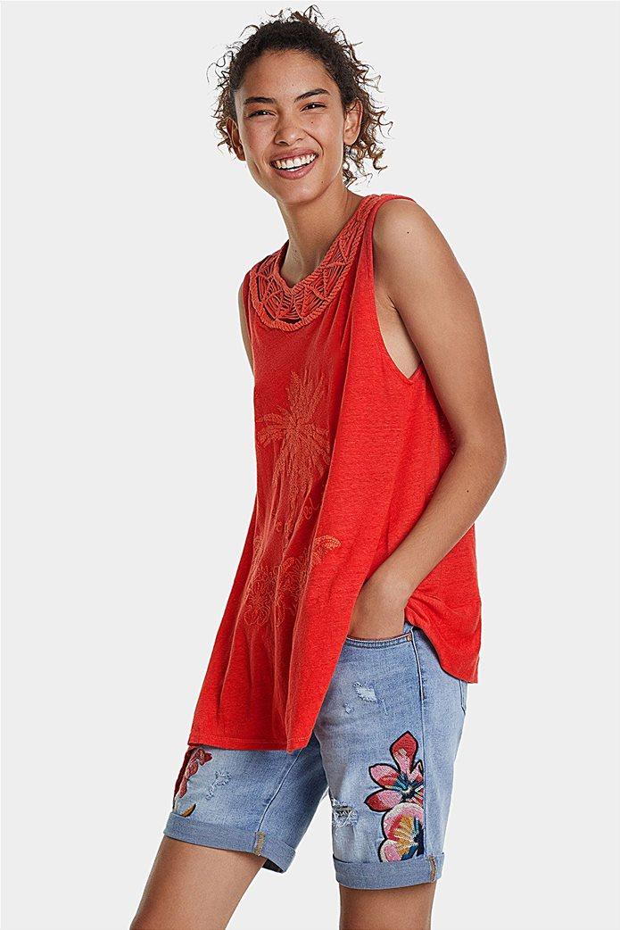 "Desigual γυναικεία αμάνικη μπλούζα με floral print ""Phil"" 3"