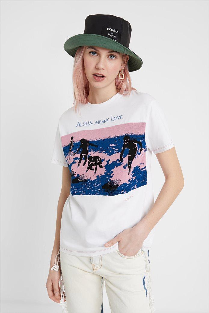 "Desigual γυναικείο T-shirt με surfer print ""Duke"" 0"