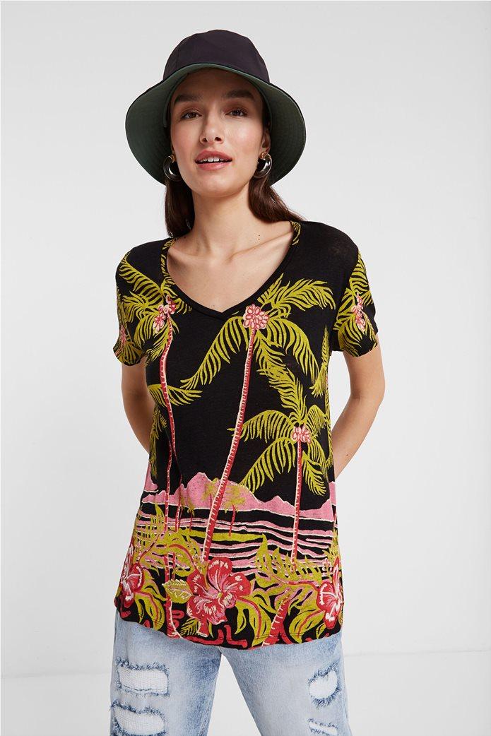 Desigual γυναικείo T-shirt με Hawaiian print 0