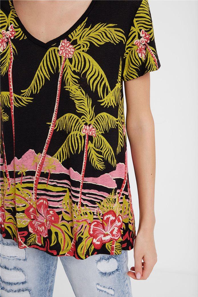 Desigual γυναικείo T-shirt με Hawaiian print 1