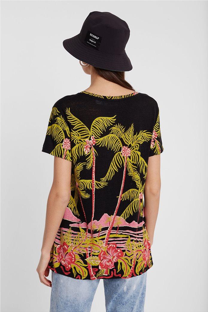 Desigual γυναικείo T-shirt με Hawaiian print 2