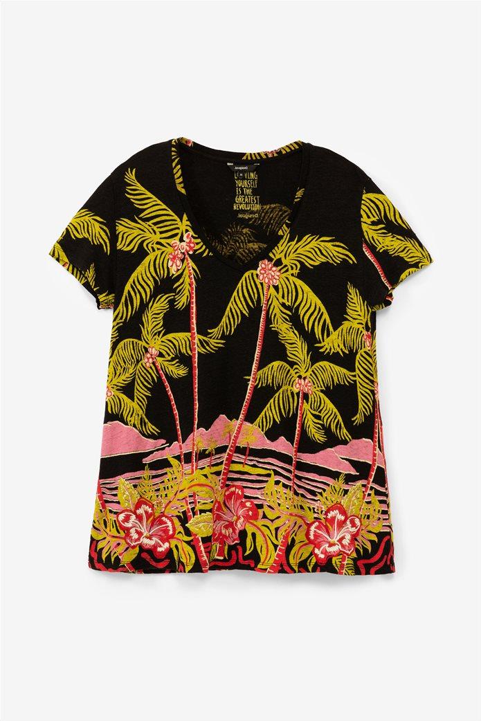 Desigual γυναικείo T-shirt με Hawaiian print 4