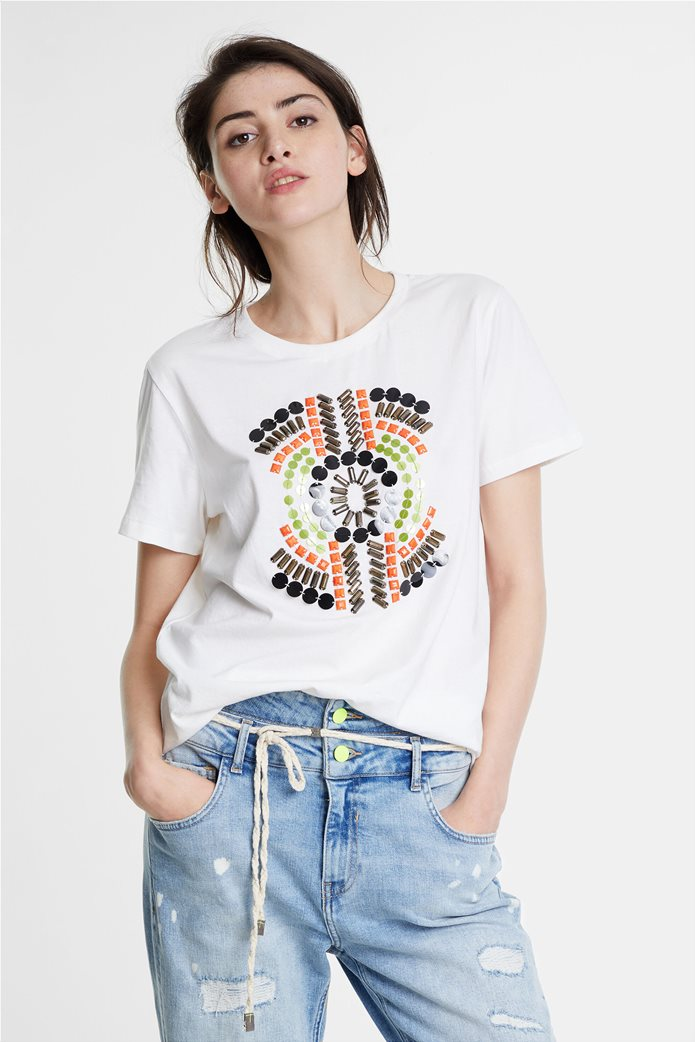 Desigual γυναικείo T-shirt με διακοσμητικό από πολύχρωμες πέτρες 0
