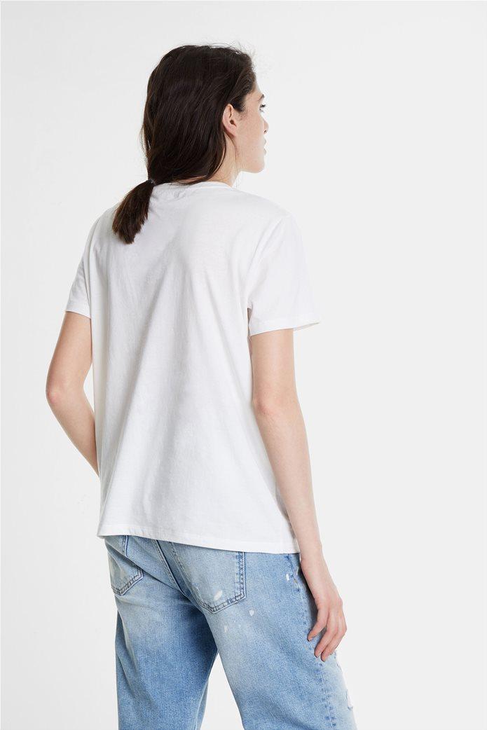 Desigual γυναικείo T-shirt με διακοσμητικό από πολύχρωμες πέτρες 2