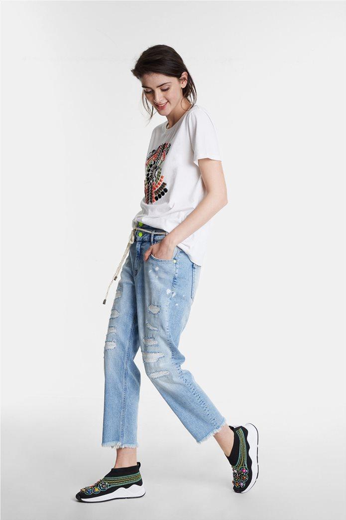 Desigual γυναικείo T-shirt με διακοσμητικό από πολύχρωμες πέτρες 3