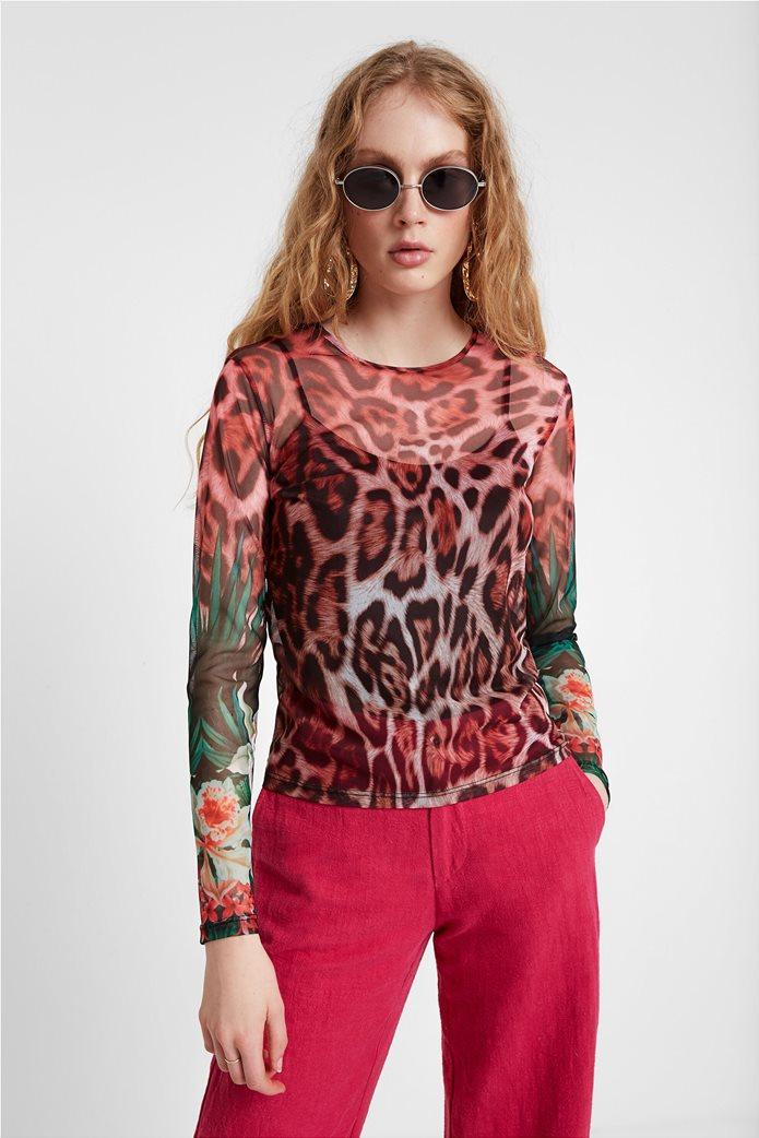 "Desigual γυναικεία μπλούζα με leopard print ""Jungla"" 0"