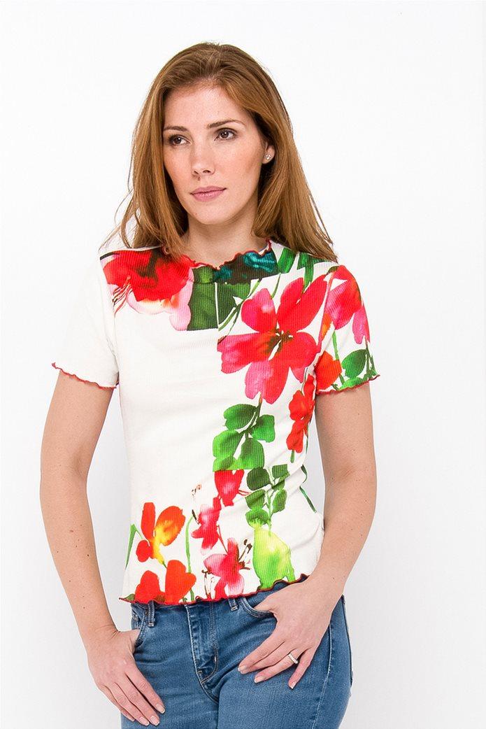 Desigual γυναικεία μπλούζα με hibiscus print 0